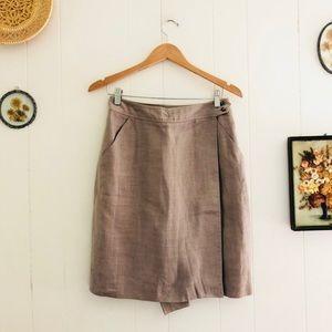 Vintage Linen High Waisted Wrap Skirt